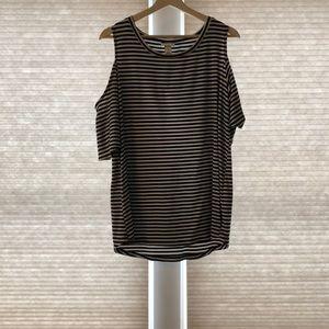 Black striped cold shoulder tee